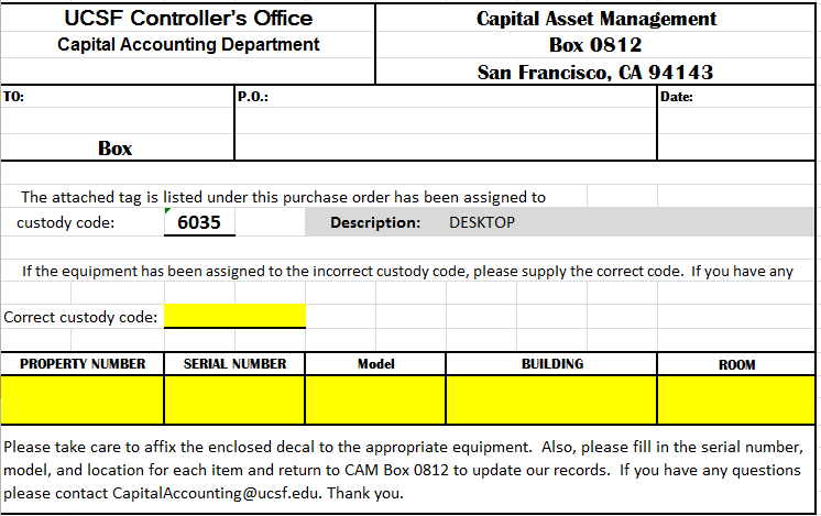 Example of an Asset Information Form