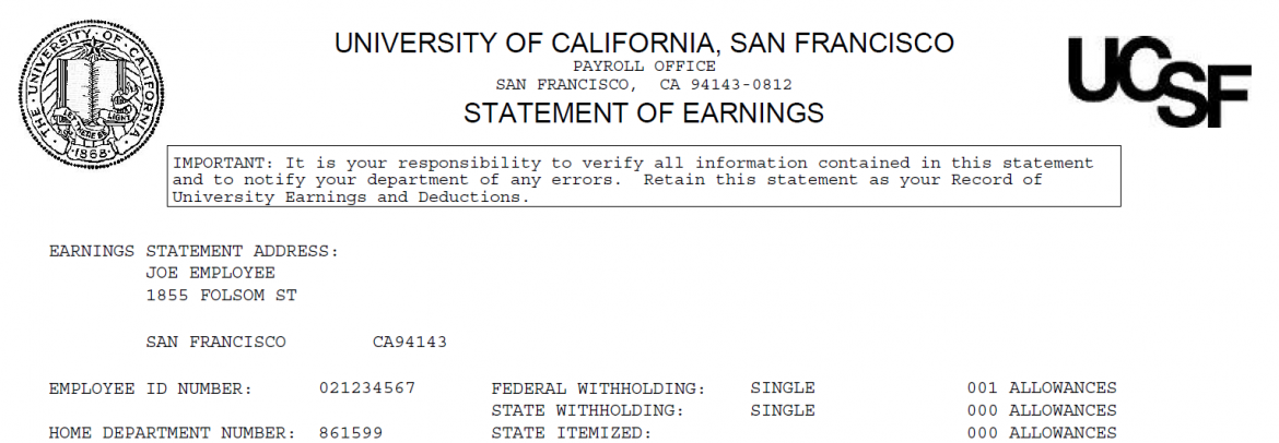 Earnings Statement Header Section