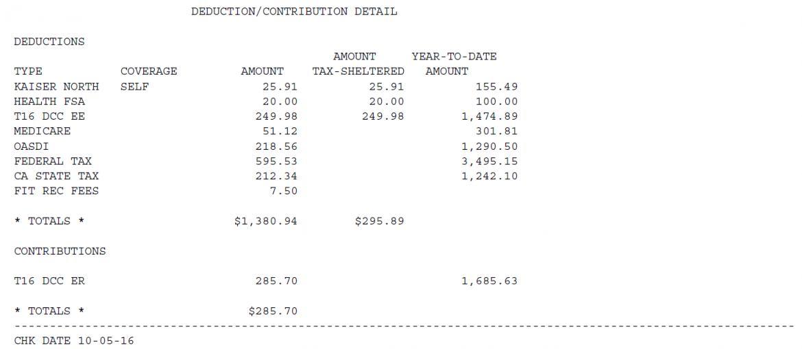 Earnings Statement Deduction/Contribution Section