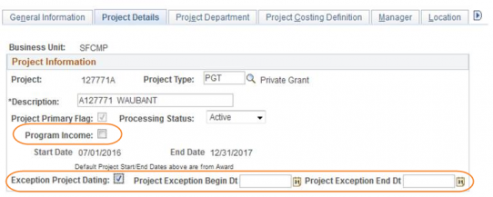RAS screen shot highlighting location of program income checkbox and exceptional dating fields